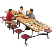 Mobile 12-Stool Cafeteria Table Dyna-Edge,Plywood,Chrome