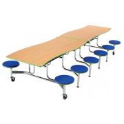 Wave Mobile Cafeteria Table, 12 Stools- Chrome, Dyna Edge (10')