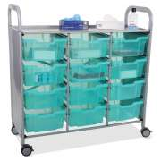 Callero Triple Cart with 12 Deep Antimicrobial Trays