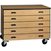 "Mobile Office Storage Unit with 5 Deep Drawers, 36"" H"