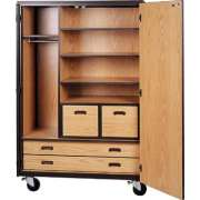 "Mobile Wardrobe Storage Closet - 3 Shelves, 4 Drawers, 72""H"