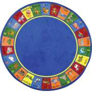 Animal Phonics Round Classroom Rug (13'2