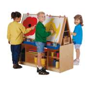 4-Station Preschool Art Center w/ Magnetic Whiteboard Panels