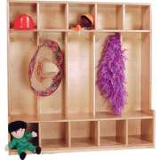 Solid Maple Offset Preschool Seat Lockers - 5-Section