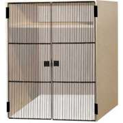 1 Compartment over 1 Open Compartment below Grille Doors