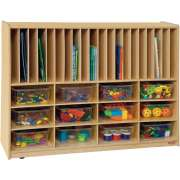 Portfolio and Cubby Storage w/ 12 Clear Cubby Bins