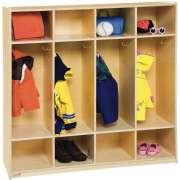 Wood Preschool Locker - Flush Front, 4-Section