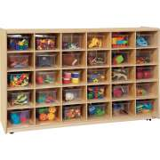 Mobile Cubby Storage w/ 30 Clear Cubby Bins