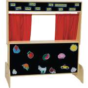 Wooden Kids Puppet Theater with Flannel Board