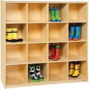 Wooden Preschool Cubby Storage - 16 Cubbies