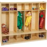6 Section Wood Locker with Offset Edge