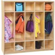 5 Section Wood Locker with Flush Front