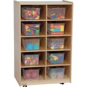 Vertical Mobile Cubby Storage w/ 10 Clear Cubby Bins