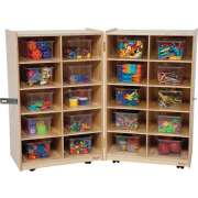 Folding Mobile Cubby Storage w/ 20 Clear Cubby Bins