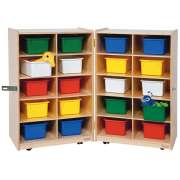 Folding Storage Unit with 20 Colored Trays