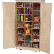 Mobile Wooden Teacher Cubby Storage Cabinet w/ Bins