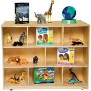 Mobile Double-Sided Wooden Cubby Storage (36