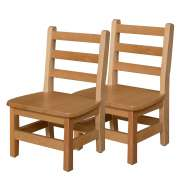 "Ladder Back Wooden Preschool Chair - Set of 2 (10""H Seat)"
