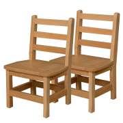 "Ladder Back Wooden Preschool Chair - Set of 2 (11""H Seat)"