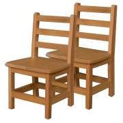 "Ladder Back Wooden Preschool Chair - Set of 2 (12""H Seat)"