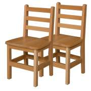 "Ladder Back Wooden School Chair - Set of 2 (14""H Seat)"