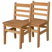"Ladder Back Wooden School Chair - Set of 2 (16""H Seat)"