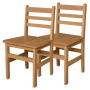 "Ladder Back Wooden School Chair - Set of 2 (18""H Seat)"