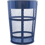 Outdoor Metal Trash Can with Name Plate - Blue