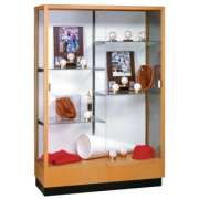 "Heritage Trophy Cabinet in Oak with Mirror (48""Wx70""H)"