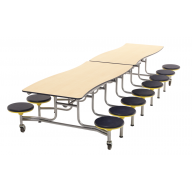 AmTab Wave Mobile Cafeteria Stool Table, 16 Stools