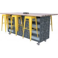 Double Ed Makerspace Table with 6 Metal Stools