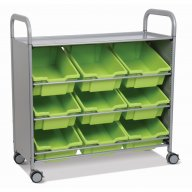 Callero Tilted Tray Cart with 9 Deep Antimicrobial Trays
