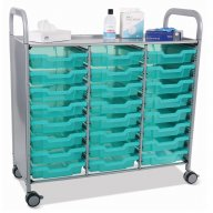 Callero Triple Cart with 24 Shallow Antimicrobial Trays