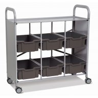 Callero Library Cart with 6 Deep Trays