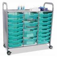 Callero Triple Cart - 16 Shallow, 4 Deep Antimicrobial Trays