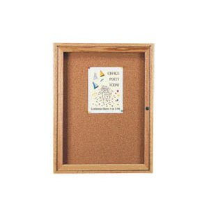 Wood Frame Enclosed  Cork Board - 1 Door