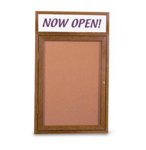 Enclosed Illumin Cork Board w/Header