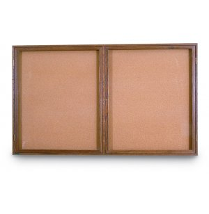 Enclosed Illuminated Cork Board - 2 Door