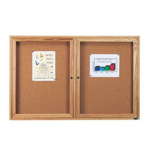 Wood Frame Enclosed Cork Board - 2 Door