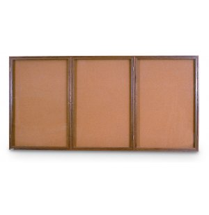 Wood Frame Enclosed Cork Board - 3 Door