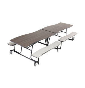 Wave Mobile Cafeteria Table - Chrome Frame