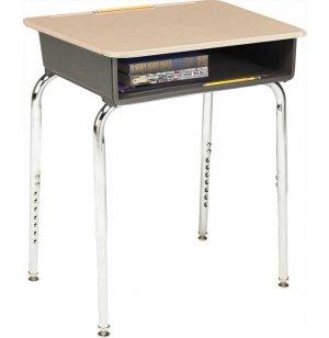Adjustable Height Open Front School Desk - Hard Plastic Top