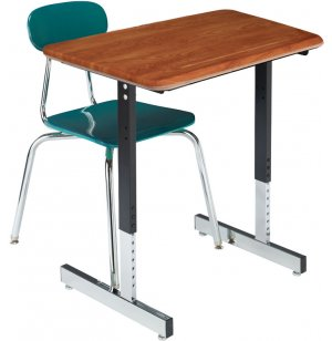 Basic Classroom Desk with T-Legs - Hard Plastic Top