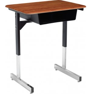 Open Front Classroom Desk with T-Legs - Hard Plastic Top
