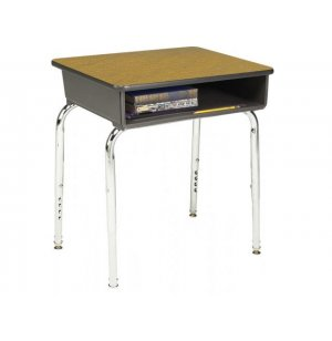 Adjustable Height Open Front School Desk - Laminate Top