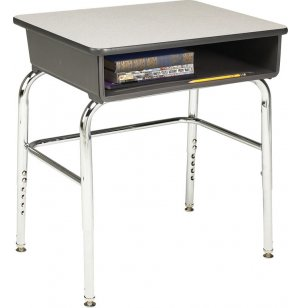 Open Front Adjustable-Ht Desk w/Laminate Top and U-Brace