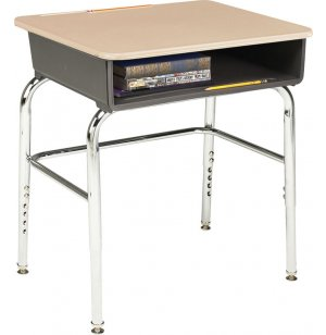 Adj. Height Open Front School Desk - Hard Plastic, U Brace