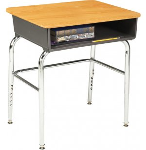 Open Front Adjustable-Ht Desk WoodStone Top w/U-Brace