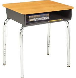 Open Front Adjustable Height Desk- Wood Stone