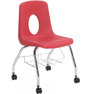 120 Series Poly Shell Chair with Casters and Bookrack